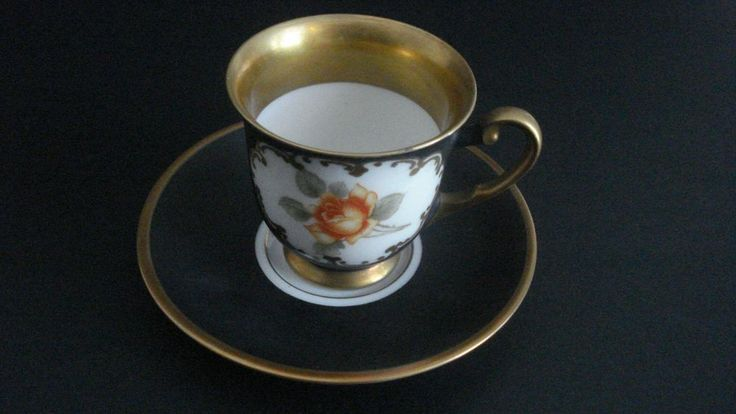 Gloria Fine Porcelain Coffee Cup and saucer Etch Gold (Germany) Post-1940 #GloriaFinePorcelain