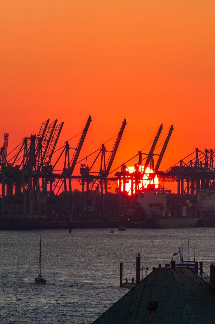 Hamburg Foto Sonnenuntergang im Hafen | Bildschönes Hamburg