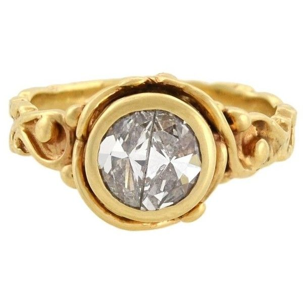 Preowned Vintage 1.00 Total Carat Half Moon Diamond Ring ($2,995) ❤ liked on Polyvore featuring jewelry, rings, fashion rings, multiple, wide gold band ring, swirl engagement ring, circle engagement rings, circle diamond rings and flower diamond ring