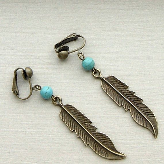 Bronze Feather Dangle Clip On Earrings    Antiqued by FashionAbbey