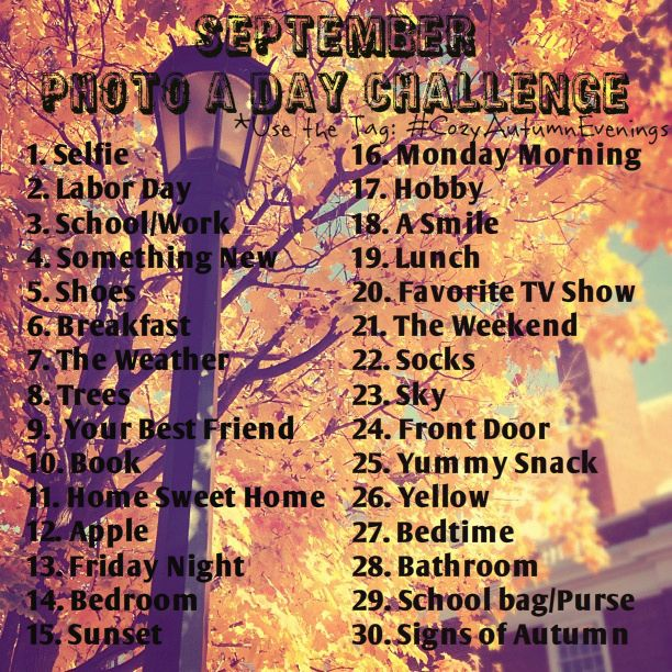 Thought it would be fun to do a photo a day challenge for September so I made one! Ill probably make one for October, November and December as well. So, if you have an instagram feel free to take up the challenge! I would love to see your pictures!  :) Let me know what you guys think about this!