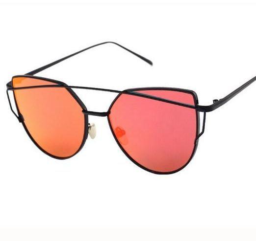 اشتري نظارات شمسية نسائية بتصميم عين القطة بعدسات عاكسة بلون احمر واطار اسود نظارات السعودية Mirrored Lens Sunglasses Mirrored Sunglasses Sunglasses Women