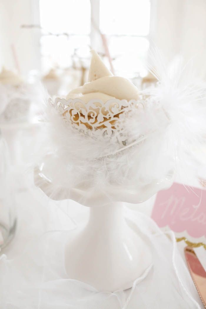 Feathered cupcake from a Swan Lake Birthday Party on Kara's Party Ideas | KarasPartyIdeas.com (37)