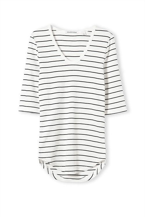 Scoop Neck Stripe T-Shirt
