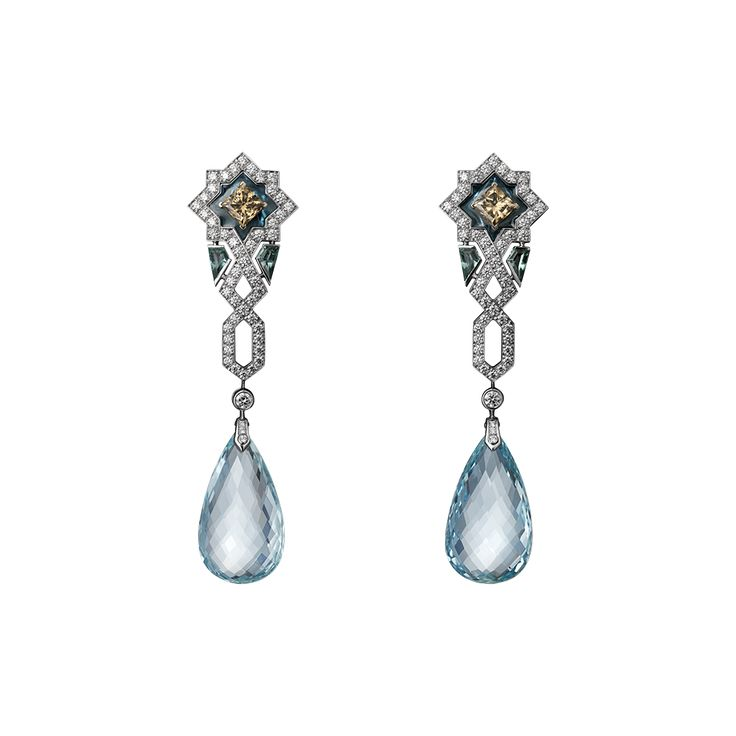 White gold, two briolette-cut aquamarines totaling 32.87 carats, brown diamonds, plique à jour enamel, brilliants.