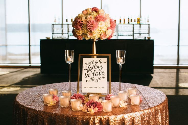 Swooning over this glamorous sweetheart table. Love the sparkle the sequin brings!