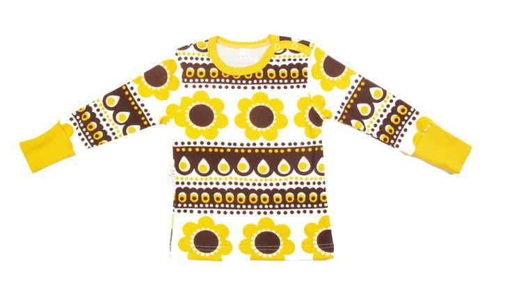 Pitkähihainen paita, Keltainen Sadonkorjuu - Melli EcoDesign - kotimaiset lastenvaatteet, ekologiset lastenvaatteet, keskosen vaatteet, vauva