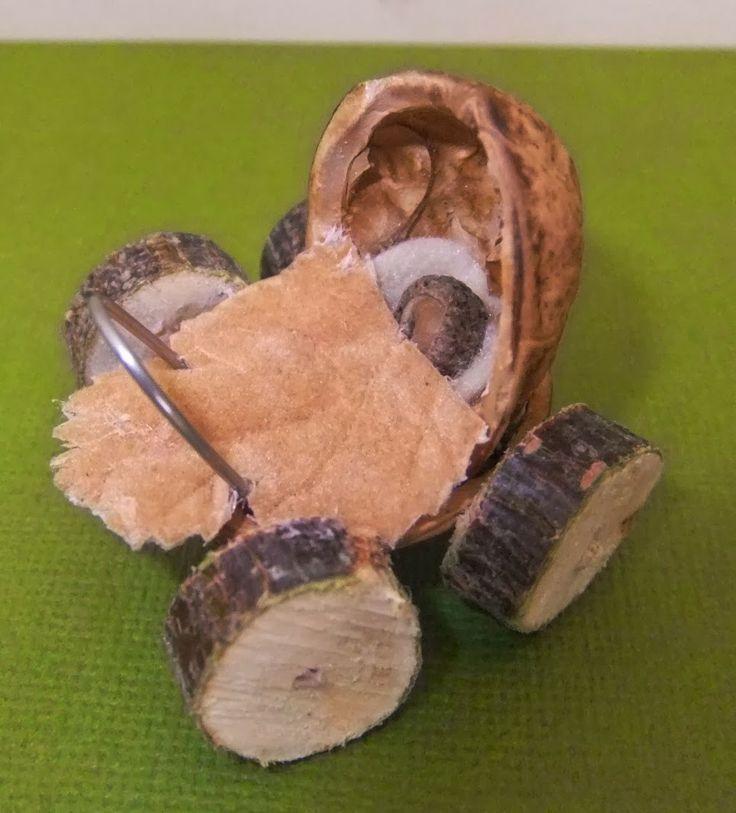 Walnut shell fairy baby buggy