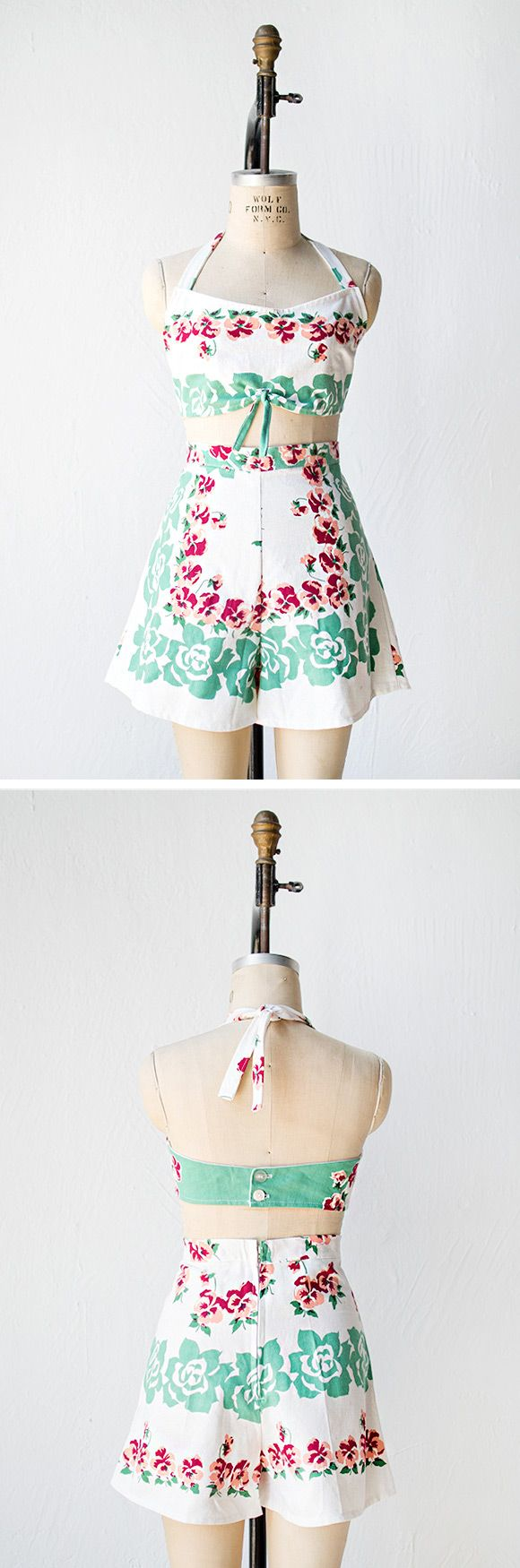 vintage 1940s revival floral playsuit set | Summer Hamptons Playsuit