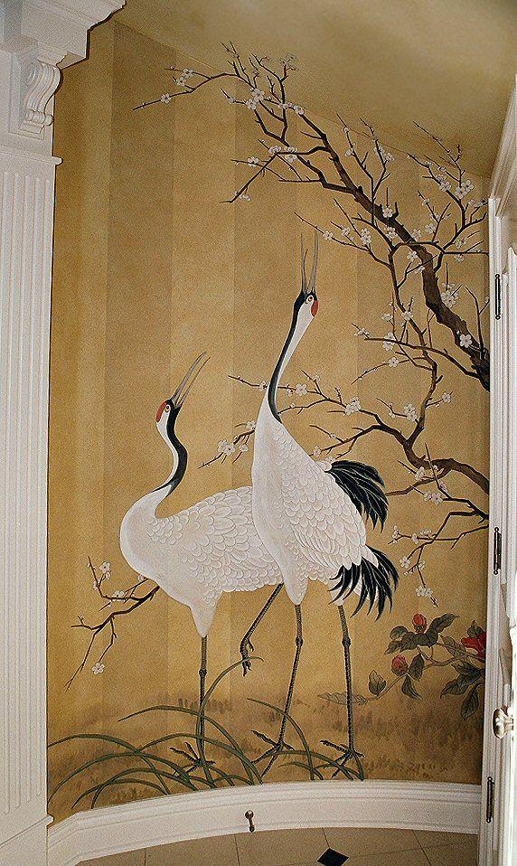 爱 Chinoiserie? Mai Qui! 爱  home decor in chinoiserie style - Asian cranes painted on striped wallpaper.