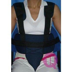 Cinturón de sujeción acolchado con tirantes y cinta perineal