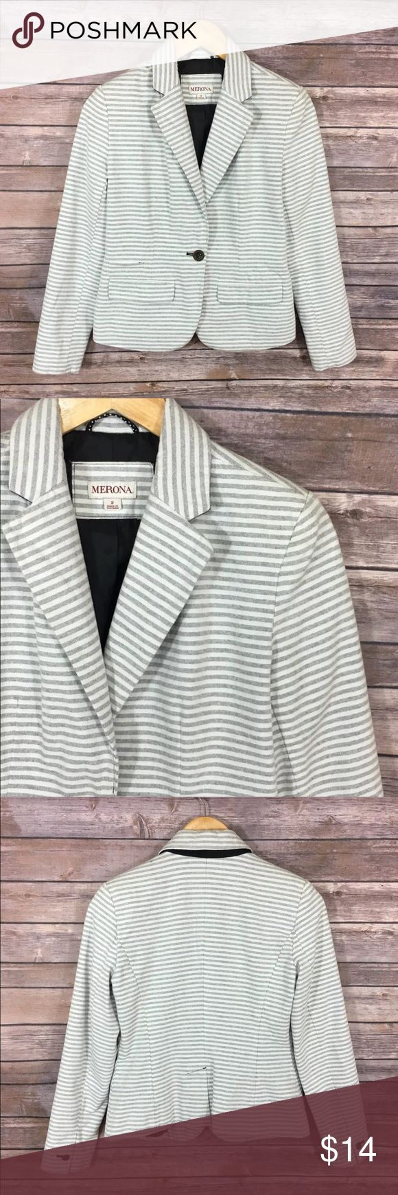 """Merona Striped Tailored Long Sleeve Blazer Length- 24"""" Shoulders- 30"""" Chest- 36"""" Sleeves- 23' Waist- 32""""  Did you know? - Front single button closure, decorative double front pockets, single button cuff closure, lightly padded shoulders, lined - Pre- loved - Great used condition - Lightweight, no stretch - 100% cotton - Machine wash cold, line dry - Measurements taken flat Merona Jackets & Coats Blazers"""