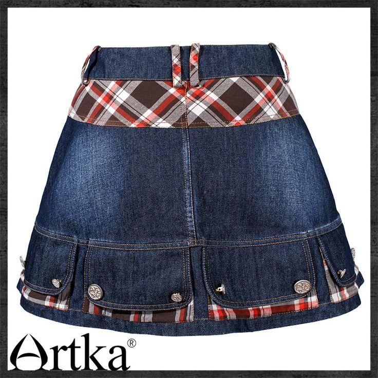 Джинсовая юбка-трапеция с декоративными кармашками по низу