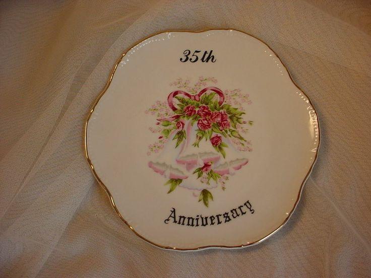 ~ Vintage 35 th Wedding Anniversary Plate Keepsake Japan 7 inch Bells and Roses