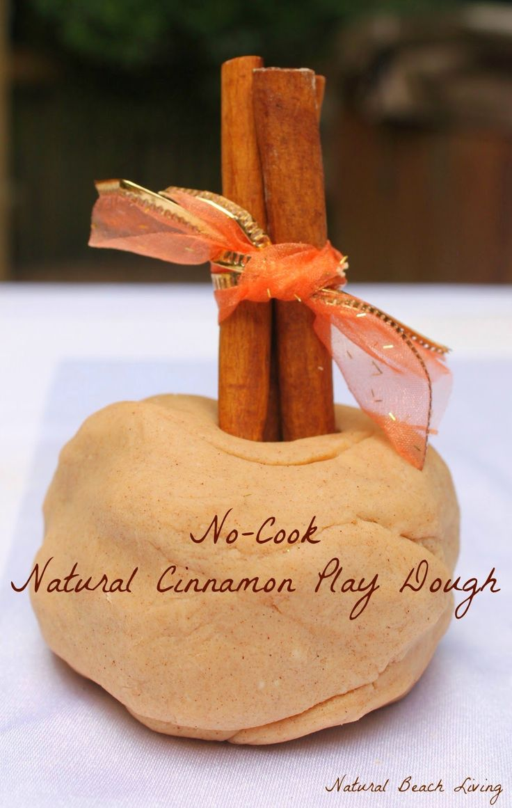 No Cook Natural Cinnamon Play Dough with a wonderful fall invitation to play
