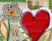 Love, Red Hearts, Birds with Flower Print