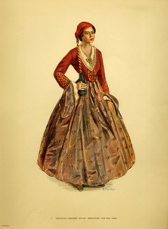 Φορεσιά Μεσολογγίου, βασιλίσσης Αμαλίας. Costume from Messolonghi, style reine Amelie. Collection Peloponnesian Folklore Foundation, Nafplion. All rights reserved.
