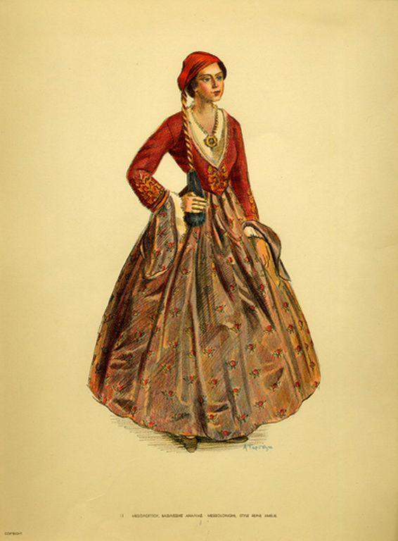 Φορεσιά Μεσολογγίου, βασιλίσσης Αμαλίας. Costume from Messolonghi, style reine Amelie. Collection Peloponnesian Folklore Foundation, Nafplion. All rights reserved.