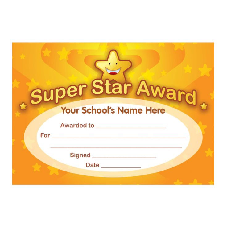 Super Star Award Certificate Printable Super star award certificates