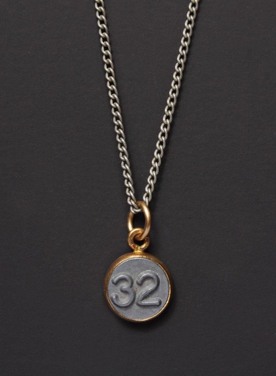 5e5e5dbad Number 32 Necklace / Mens Necklace / Numerology Personalized Men Jewelry /  Man Jewelry / Number THIR