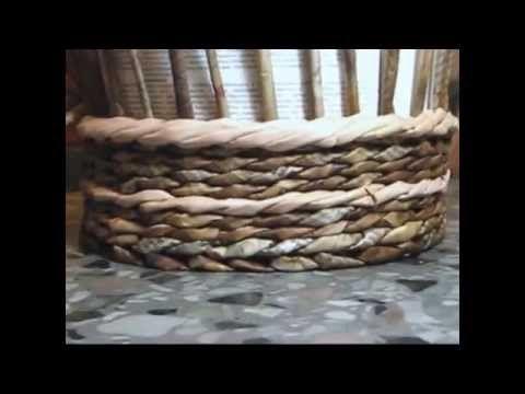 Cesteria de bordes decorativos con periodicos. Cuerda. - YouTube