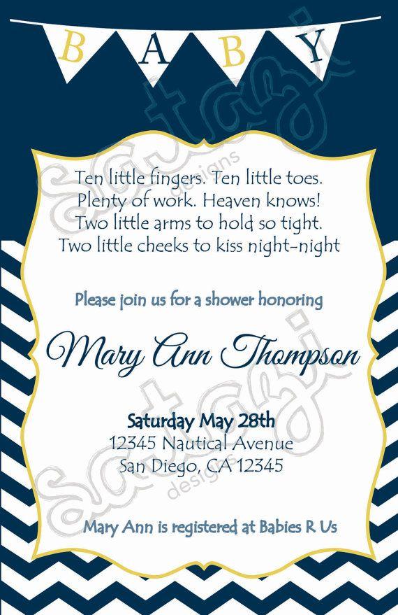 nautical gender neutral baby shower invitation