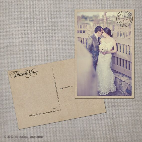 © 2012 Nostalgic Imprints    Say thank you to your wedding guests and vendors with this 4x6 vintage photo thank you card. This listing is for a