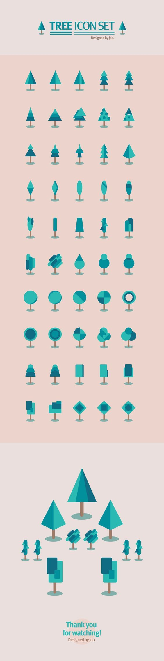 50 tree icon set: