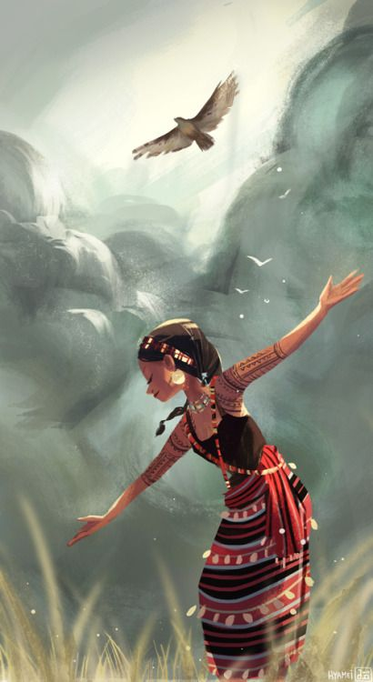 Akin to an eagle inspired by the Kalinga (a Philippine tribe) cultural video posted up by pinoy-culture. (video) how Kalinga women are tough, proud, and dance like a soaring eagle who looks down on earth.
