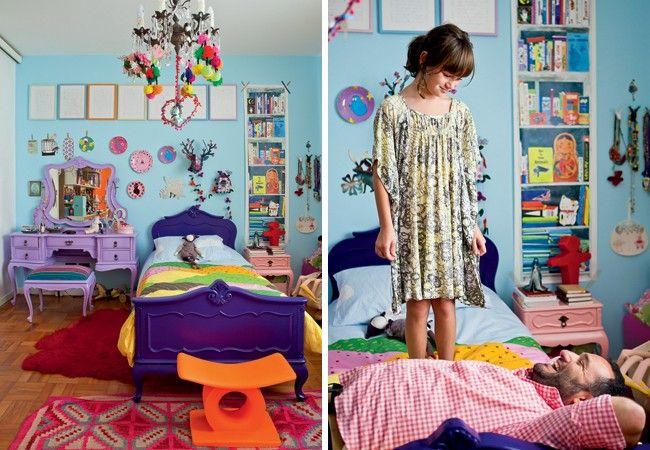 no quarto de Bertha, 8 anos, ,a diversão é certa. Há inúmeras bonecas e móveis supercoloridos – herança de família.
