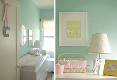 This is the color I want if its a girl!! Aqua walls with pink and yellow accents
