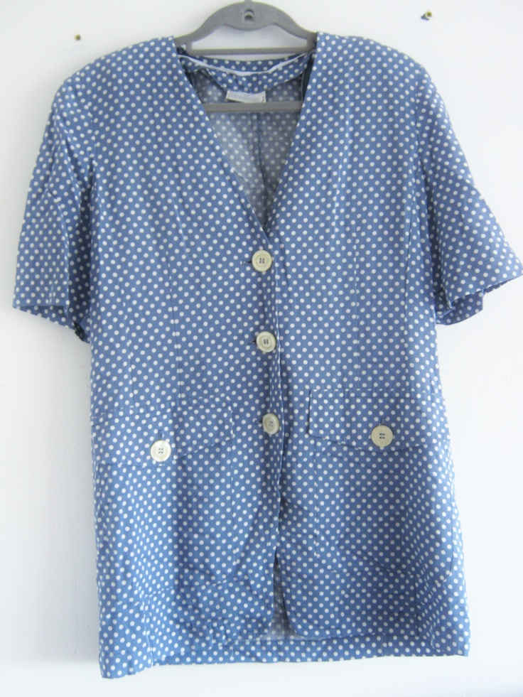 Vintage nurse style dress, blue and white, available at Blackhouse Thriftage on Facebook! https://www.facebook.com/photo.php?fbid=390234784423915=pb.357110221069705.-2207520000.1369053582.=3