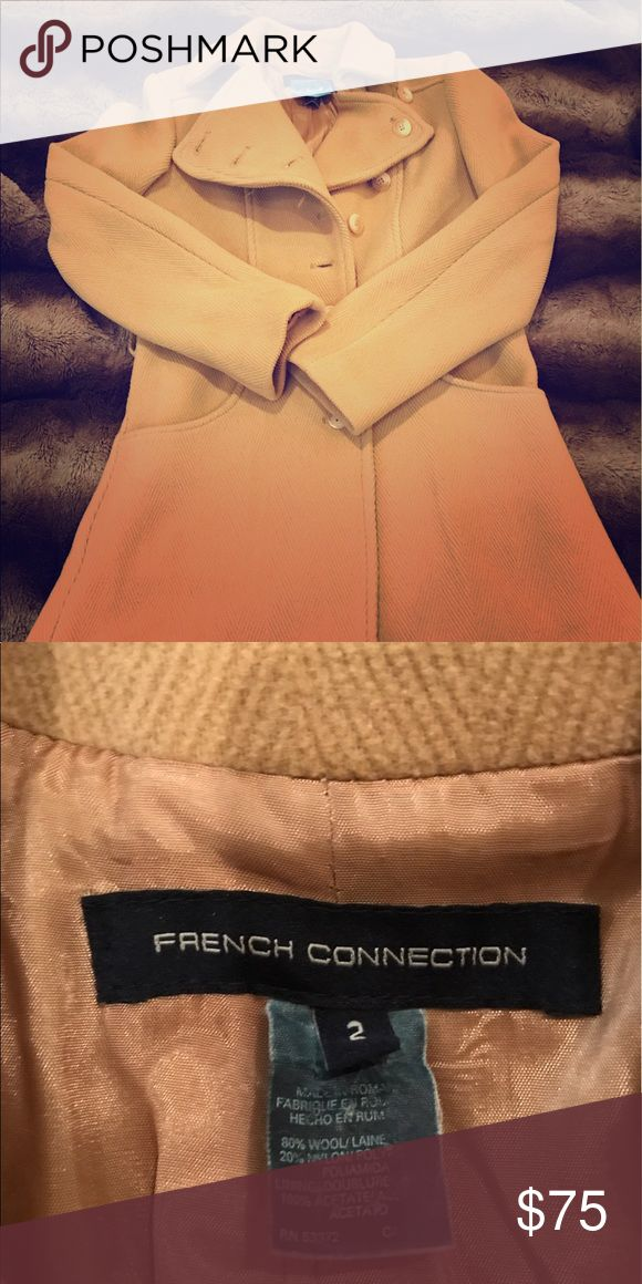 French Connection Wool Coat Size 2 French Connection Wool Blend coat. Barely used, but missing the waist tie. Very heavy and comfortable. Like new Condition and just dry cleaned. French Connection Jackets & Coats Trench Coats