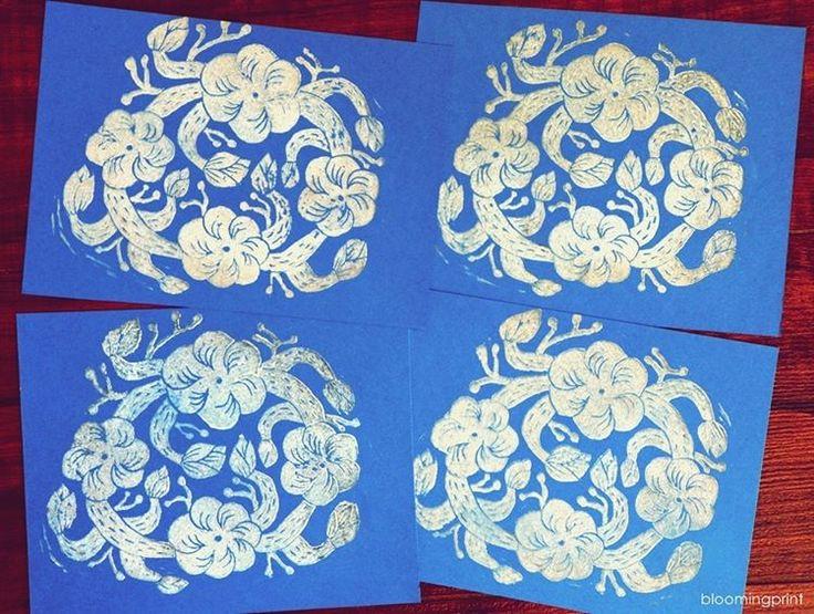 """62 likerklikk, 1 kommentarer – Elise young Uhm (@bloomingprint) på Instagram: """"☁️☁️☁️look like cloud :) #blockprint #blockprinting #printmaking #handcarved #linocut #stamp…"""""""