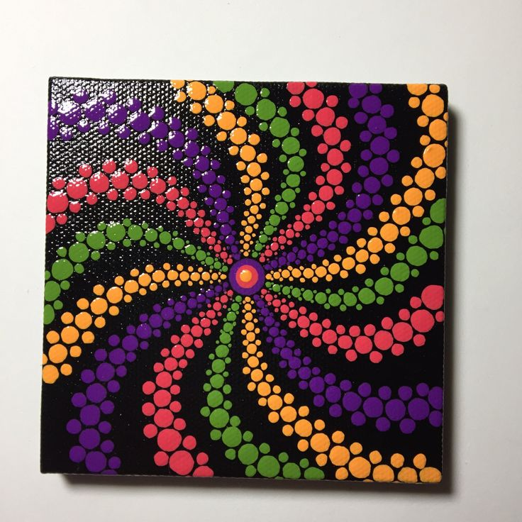 Hand Painted Mandala Swirl on Canvas, Dot Art, Healing, Calming, #342 by MafaStones on Etsy