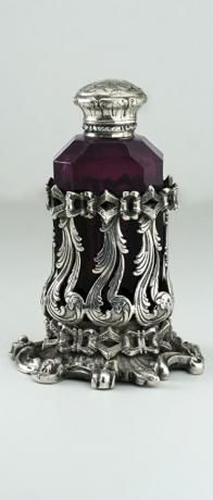 c.1870 AMETHYST CUT CRYSTAL SCENT PERFUME BOTTLE IN ORNATE STAND