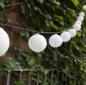 White Round Oriental Solar Nylon String Lights - asian - outdoor lighting - new york