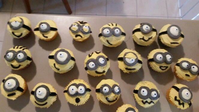 Minion cupcakes made with buttercream.