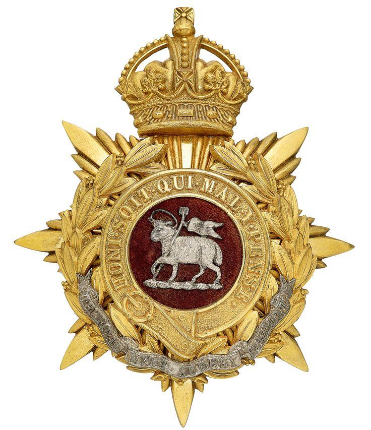 British; Queen's Royal West Surreys, Officer's helmet plate c.1902-11