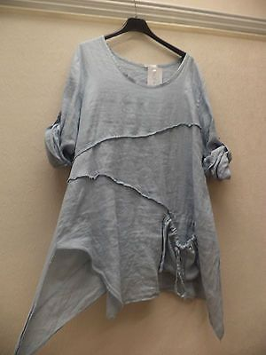 sale! QUIRKY LINEN TOP/ ASYMMETRICAL DESIGN- LAYERING TOP-LOOSE-BLUE-BY DIVERSE