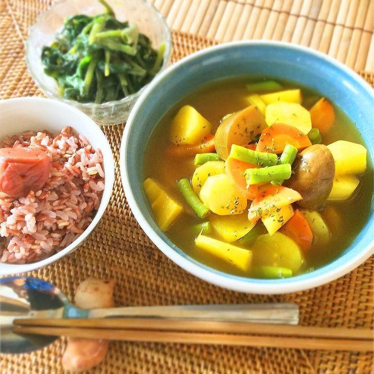 12/20  ヴィーガン & ベジタリアン晩ごはん Today's #vegan & #vegetarian dinner I cooked it(-)    スープカレー空芯菜のぬた和え玄米ごはん梅干し   Soup curry water spinach with vinegar and miso brown rice pickled plum.   この前の黒いお皿新しいのやねってみんな気づいてくれてありがとう()嬉ジャカルタに行った時に買ったんよこのスープボールも食器一つでこんなに嬉しくなるなんてo()o笑白味噌ゲットしたので大好きなぬた和え作ってみました   #vegan #vegetarian #yesvegan #macrobiotic #macrobi #animallovers #animalrights #indonesia #lombok #love #animals #like4like #follow #followme #dinner #food #homecooking #ZeroHunger #meatfreemonday #kaumo…