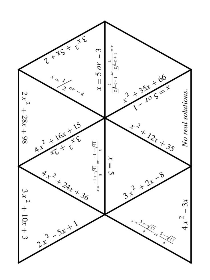 A quadratic equations puzzle! Cut up the triangles (already mixed, not currently in correct location). Then match each quadratic equation to its roots, lining up those two matching sides. When complete, ot makes a large hexagon. For extra fun, write a secret message on the backs of the pieces, that only students who complete correctly will be able to read!