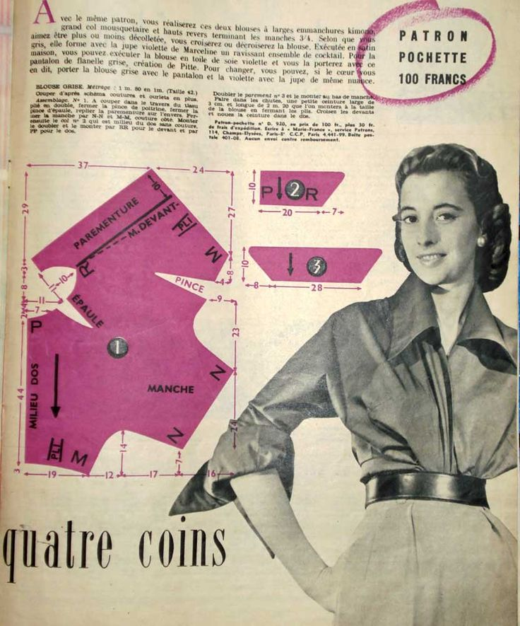 Free Vintage Blouse Sewing Draft Pattern---enough information to draft my own.