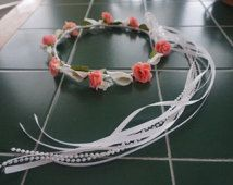 pick your color rose and ribbon white calla lily beach flower girl first communion bridal bridesmaids hair wreath halo