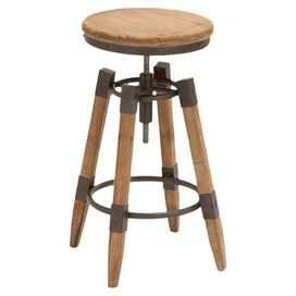 "Add a touch of industrial-chic style to your breakfast nook or home bar with this adjustable wood and metal counter stool.  $105 Product: Counter stoolConstruction Material: Wood and metalColor: NaturalFeatures: Adjustable heightDimensions:  24-28"" H x 13"" Diameter"