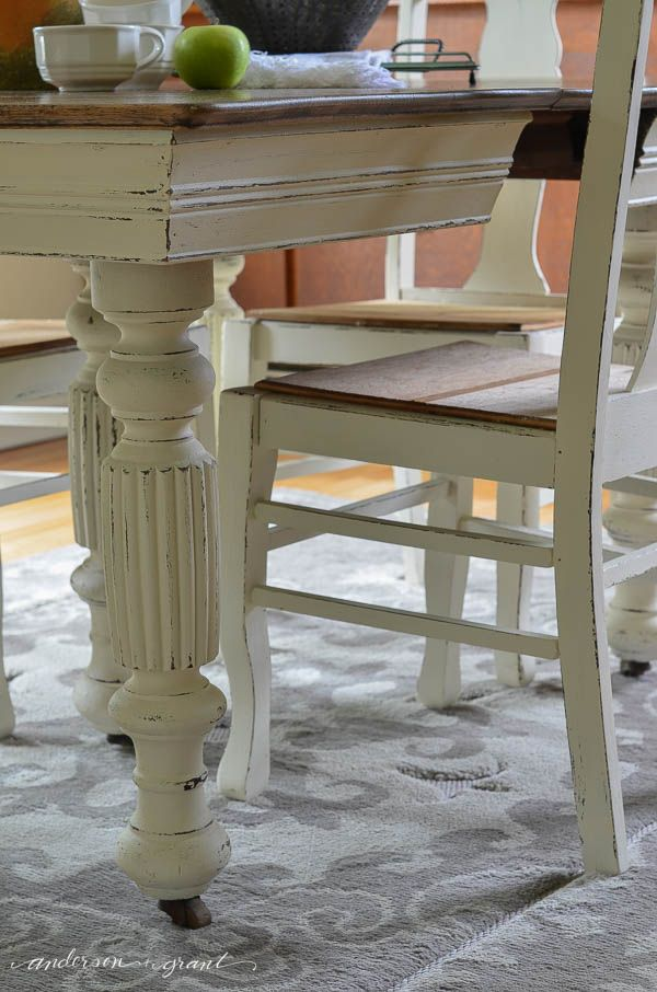 Refinishing grandma's antique dining room table and chairs with a little white chalk paint and distressing | www.andersonandgrant.com