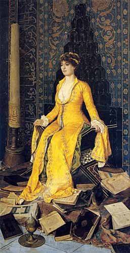 """BEY Osman Hamdi ~ Turkish (1842 – 1910) ~ Lost painting """"Mihrap"""" (1901) A women in a mosque, right hand side a large candle located and religious books under her foot. An amazing painting"""