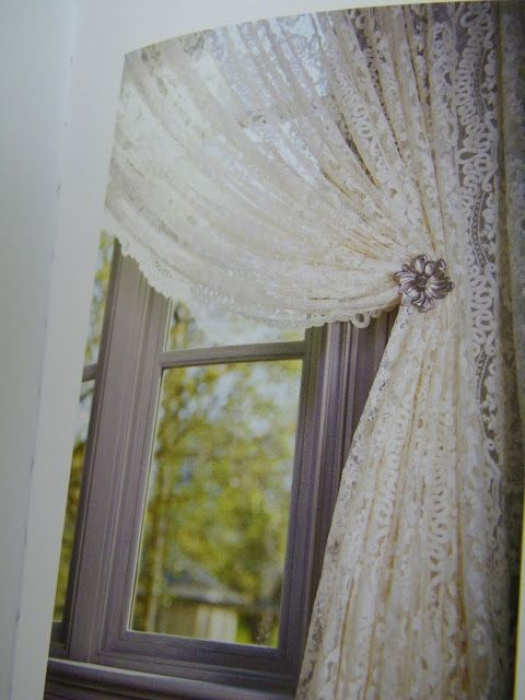 Boho lace window curtain, with vintage precious pin