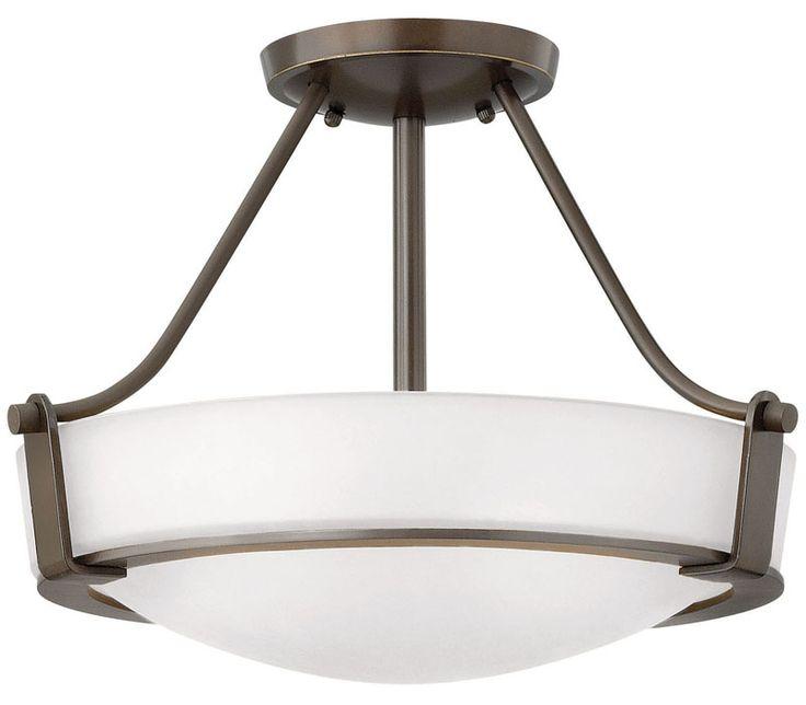 Hinkley 3220OB-WH Hathaway 3 Light Bronze Round Semi Flush Lighting