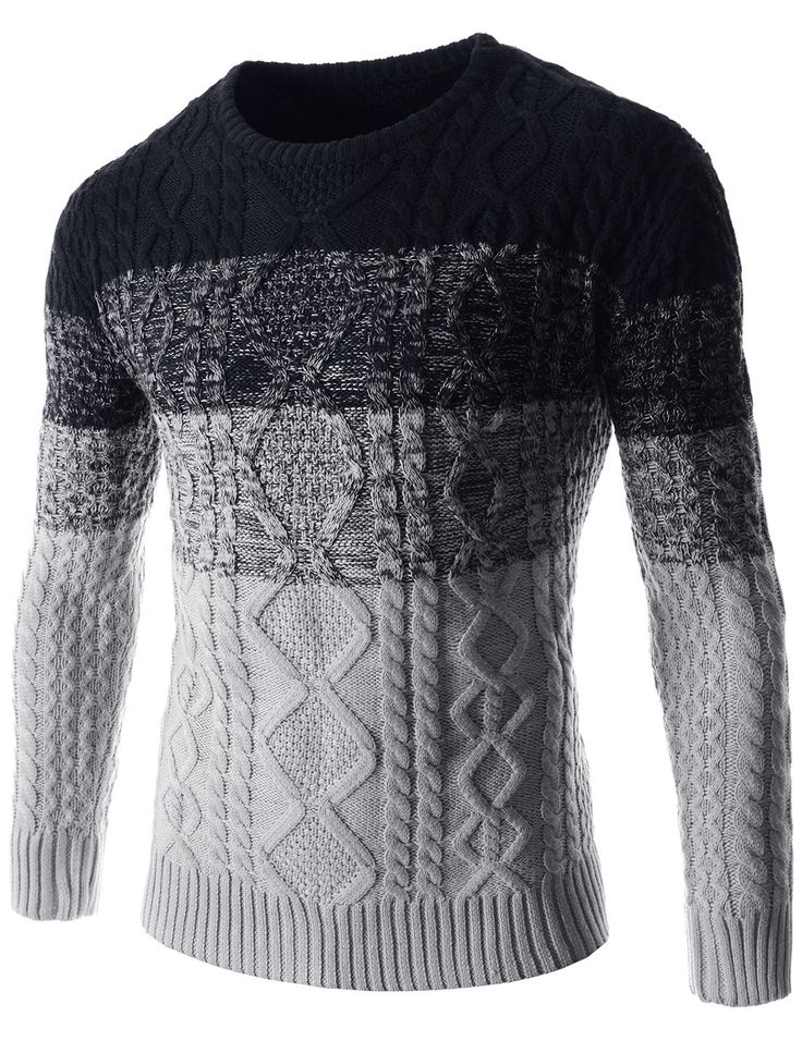 (OPT01-GRAY) Mens Casual Round Neck Two-Tone Twist Knitted Basic Long Sleeve Sweater